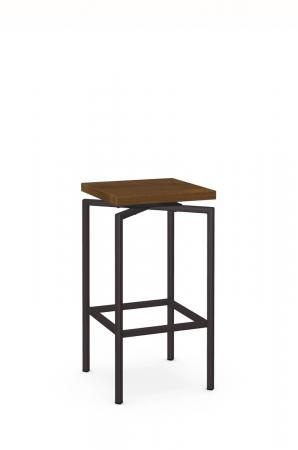 Amisco's Atlas Backless Swivel Metal Barstool with Square Wood Seat - In Brown