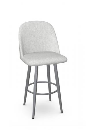 Amisco's Zahra Upholstered Modern Swivel Bar Stool with Tall Back in Silver