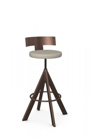 Amisco's Uplift Adjustable Screw Swivel Bar Stool with Low Back, Round Seat Cushion, and Metal Finish in Sienna Bronze
