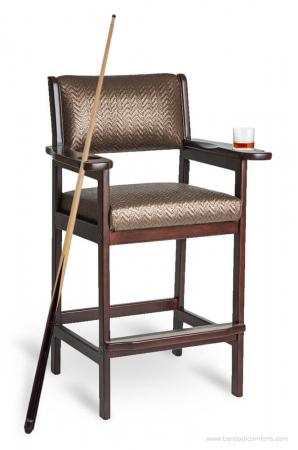 Darafeev's #977 Billiard Spectator Bar Stool with Pool Cue Holder and Drink Holders with Arms