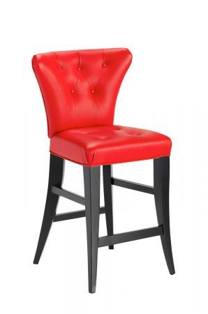Darafeev's Bourbon Flexback Stationary Modern Bar Stool in Espresso Wood Finish and Red Seat/Back Cushion