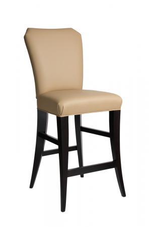 Darafeev's Treviso Upholstered Flexback Wood Bar Stool in Espresso and Mushroom Cushion