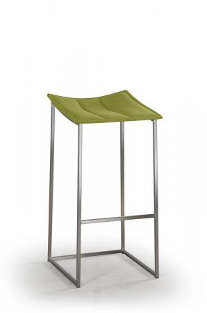 Trica's Bocca Backless Modern Silver Bar Stool with Green Seat Cushion
