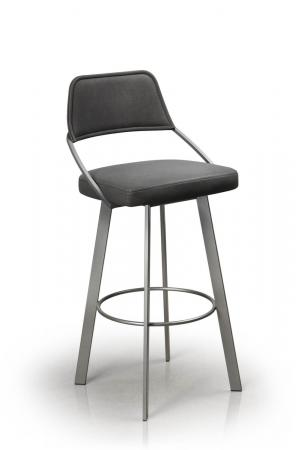 Trica's Wish Upholstered Swivel Bar Stool with Back Upholstered Seat and Back and Metal Finish