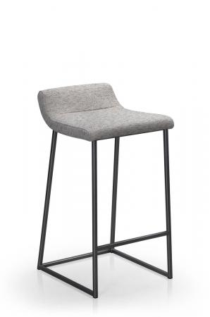 Trica's Zoey Modern Non-Swivel Counter Stool in Carbon Black Metal Finish and Branco 114 Fabric