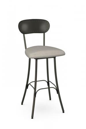Amisco's Bean Traditional Swivel Metal Bar Stool with Bean Shaped Hammered Back and Seat Cushion