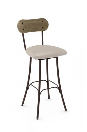 Amisco's Bean Swivel Bar Stool with Bean Shaped Wood Backrest and Square Seat Cushion
