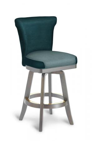 Darafeev's Dara Modern Flexback Swivel Bar Stool in Taupe Wood Finish and Teal Seat and Back Cushion