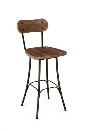 Amisco Bean Swivel Stool with Wood Backrest and Wood Seat