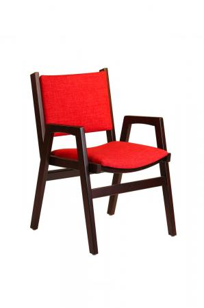 Darafeev's Spencer Arm Wood Stacking Chair in Red Cushion and Wood Frame