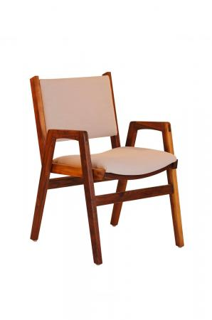 Darafeev's Spencer Walnut Wood Upholstered Stacking Dining Arm Chair