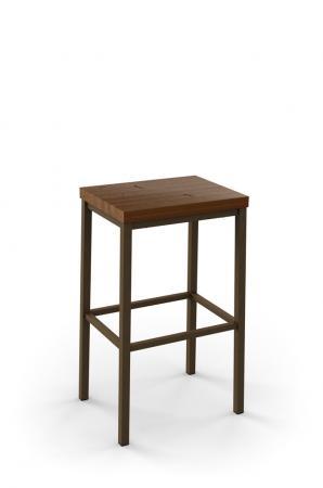 Amisco Bradley Non-Swivel Stool with Wood Seat