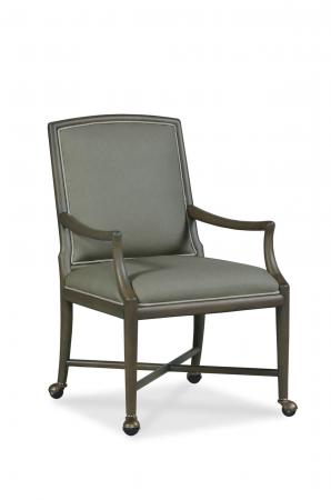Fairfield's Clayton Upholstered Wood Dining Arm Chair with Casters in Brown