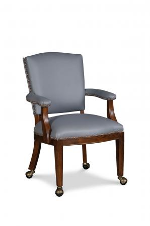 Fairfield's Allen Wood Upholstered Dining Chair with Nailhead Trim in Gray Cushion and Padded Arms