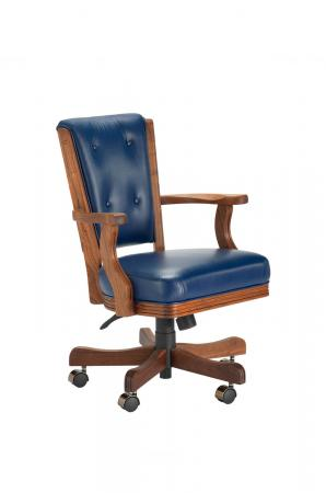 Darafeev's 860 High Back Walnut Game Chair with Arms, Button-Tufting, Casters, and Adjustable Height Lever