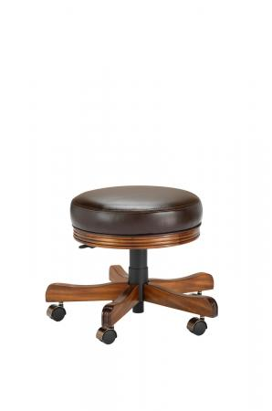 Darafeev's 938 Backless Swivel Adjustable Height Vanity Stool in Maple Wood Finish with Casters