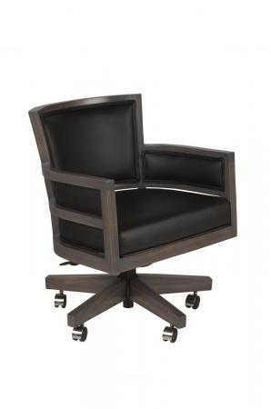 Darafeev's Metra Upholstered Game Chair in Maple Wood with Arms and Casters - Adjustable Height