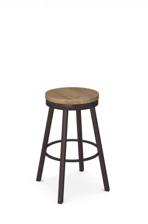 Amisco's Connor Backless Swivel Metal Bar Stool with Wood Seat