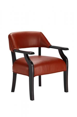Darafeev's Patriot Upholstered Wood Club Chair with Arms in Red Upholstery and Black Wood Finish