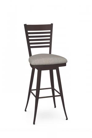 Amisco's Edwin Transitional Metal Swivel Bar Stool with Ladder Back and Seat Cushion
