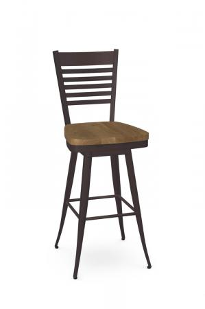 Amisco's Edwin Transitional Espresso Swivel Bar Stool with Ladder Back Design and Wood Seat