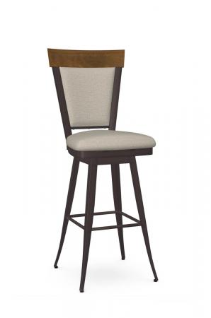Amisco's Eleanor Traditional Swivel Upholstered Bar Stool with Metal Frame and Wood Back
