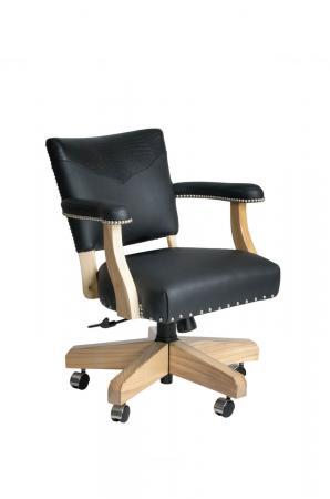 Darafeev's El Dorado Swivel Game Chair with Arms in Black Maple Wood