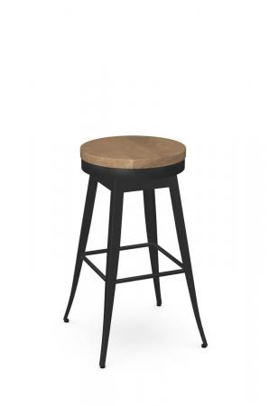 Amisco's Grace Backless Swivel Bar Stool in Black Metal and Light Wood Seat