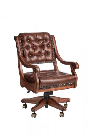 Darafeev's Ponce De Leon Swivel Game Chair with Arms, Nailhead Trim, Button-Tufting, and Adjustable Height
