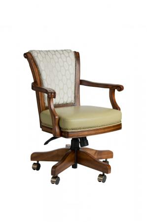 Darafeev's Classic Maple Game Chair with Arms, Nailhead Trim, and Adjustable Height Lever