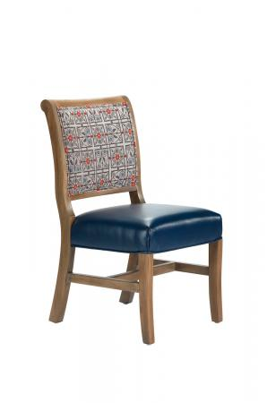 Darafeev's Yorkshire Armless Dining Chair with Blue Seat Cushion and Back Pattern