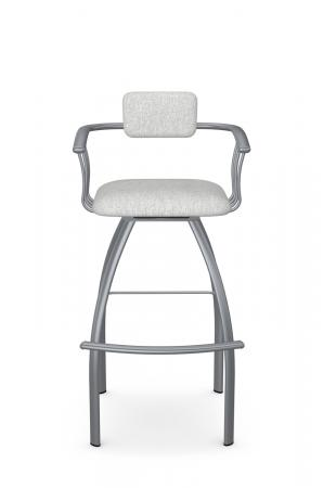 Amisco's Kris Modern Swivel Bar Stool with Arms in Silver Metal and Upholstered Back and Seat