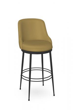 Amisco's Glenn Modern Black Swivel Bar Stool in Mustard Yellow Seat and Back Cushion
