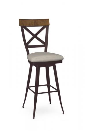 Amisco's Kyle Traditional Swivel Metal Bar Stool with Wood Back, Seat Cushion, and Cross Back Design