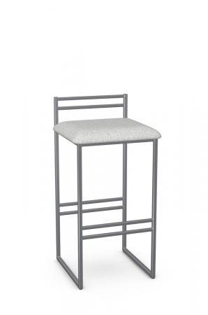 Amisco's Sonoma Silver Low Back Modern Bar Stool with Sled Base