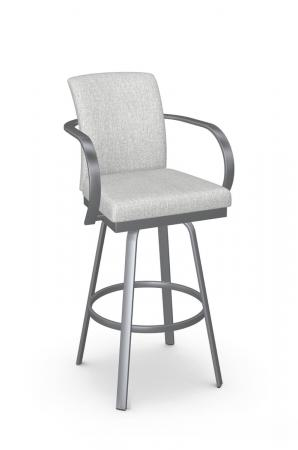Amisco's Lance Upholstered Swivel Bar Stool in Silver with Arms