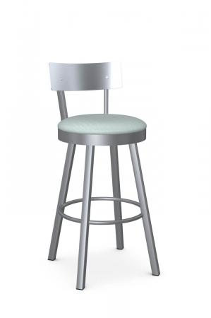 Amisco's Lauren Modern Swivel Silver Bar Stool with Stainless Steel Back and Seafoam Green Seat Cushion