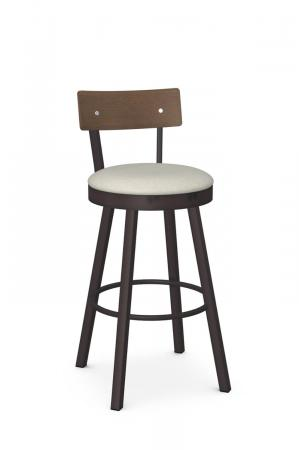 Amisco's Lauren Transitional Swivel Bar Stool in Expresso Brown with Wood Back and Light Seat Cushion
