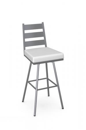 Amisco's Level Swivel Silver Metal Bar Stool with White Vinyl Seat Cushion