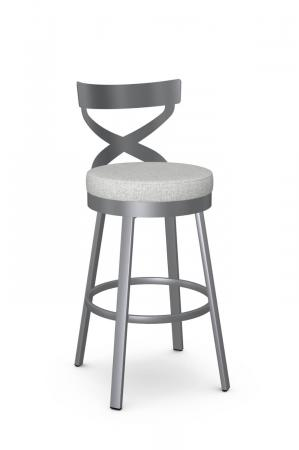 Amisco's Lincoln Modern Silver Bar Stool with Cross Back Design