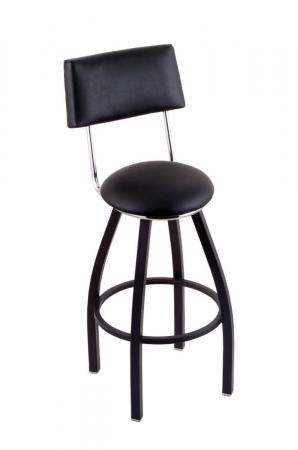 Holland's C8B4 Classic Swivel Bar Stool in Black - with Back