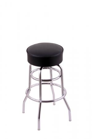 Holland's C7C1 Classic Series Backless Swivel Bar Stool in Chrome Metal and Black Vinyl Seat Cushion