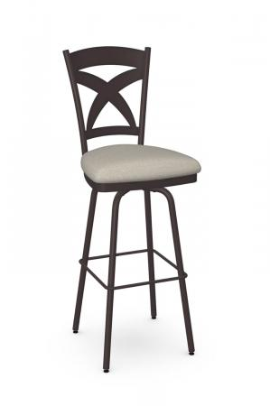Amisco's Marcus Espresso Brown Swivel Bar Stool with X Back Design