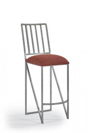 Wesley Allen's Ace Modern Steel Bar Stool with Seat Cushion and Mission Back
