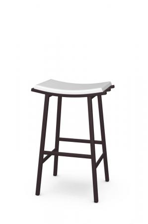Amisco's Nathan Modern Backless Saddle Stool in Brown Metal and White Seat Vinyl