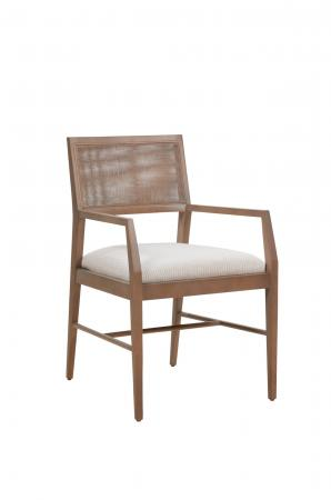 Fairfield's Larson Wood Arm Chair with Weave Back and Seat Cushion