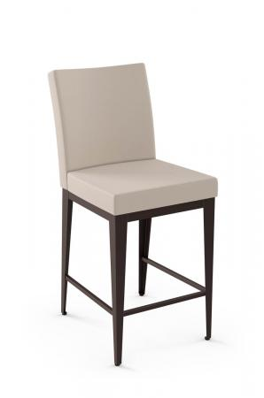 Amisco's Upholstered Parsons Counter Stool with Square Back and Seat
