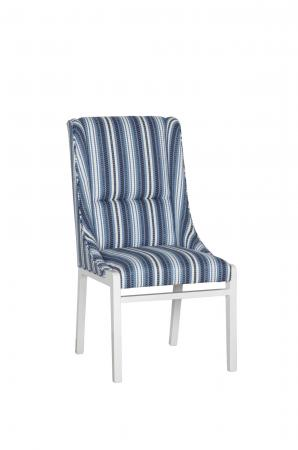 Fairfield's Briarcroft Upholstered Dining Chair with Tall Back, Wood Frame - Shown in a Blue and White Fabric
