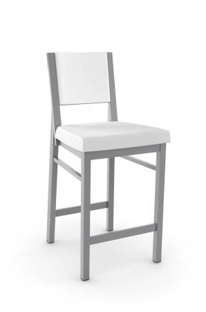 Amisco's Payton Stationary Modern Metal Bar Stool with Upholstered Seat and Back in Gray and White