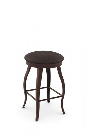 Amisco's Pearl Backless Swivel Bar Stool with Round Seat, Cabriole Legs in Brown Metal Finish and Gray Seat Cushion